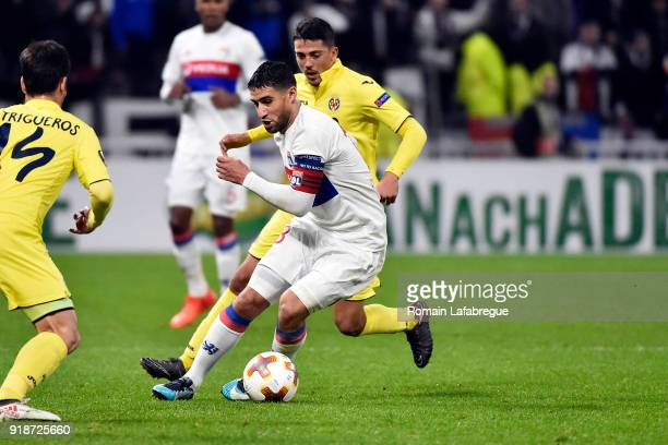 Nabil Fekir of Lyon and Pablo Fornals of Villarreal during the Europa League match between Lyon and Villarreal at Groupama Stadium on February 15...
