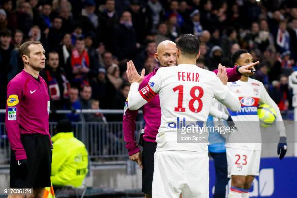 Nabil Fekir of Lyon and Referee Amaury Delerue during the Ligue 1 match between Olympique Lyonnais and Stade Rennes at Parc Olympique on February 11...