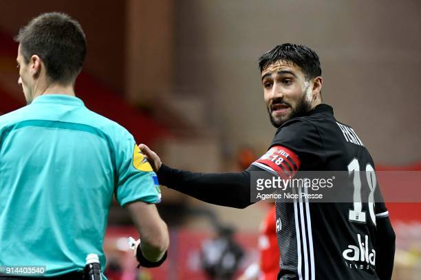 Nabil Fekir of Lyon and the referee Benoit Bastien during the Ligue 1 match between AS Monaco and Lyon at Stade Louis II on February 4 2018 in Monaco