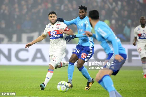 Nabil Fekir of Lyon Andre Zambo Anguissa of OM during the French Ligue 1 match between Olympique Lyonnais and Olympique de Marseille at Groupama...
