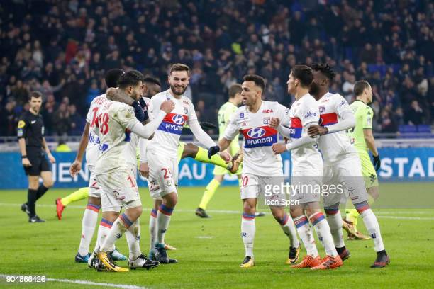 Nabil Fekir of Lyon celebrate his goal during the Ligue 1 match between Lyon and Angers at Groupama Stadium on January 14 2018 in Lyon France
