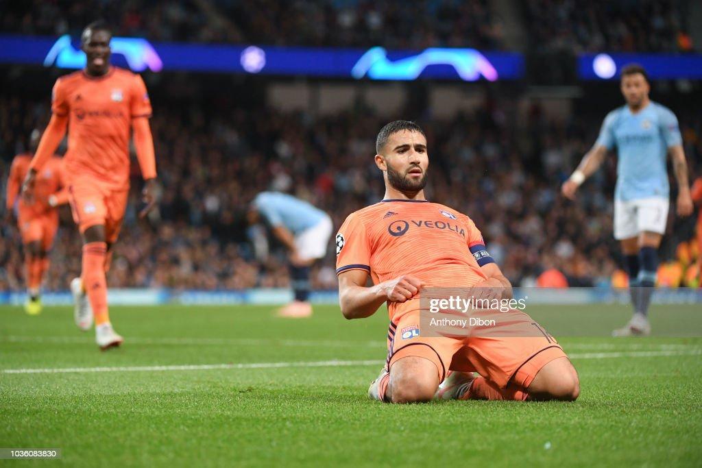 Nabil Fekir Of Lyon Celebrates His Goal During The Champions League
