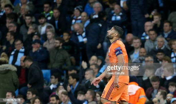 Nabil Fekir of Lyon celebrates his goal during the Group F match of the UEFA Champions League between Manchester City and Olympique Lyonnais at...