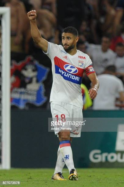 Nabil Fekir of Lyon celebrates his goal during the Ligue 1 match between Olympique Lyonnais and Strasbourg at Parc Olympique on August 5 2017 in Lyon
