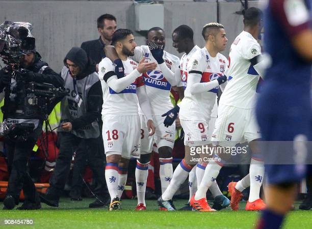 Nabil Fekir of Lyon celebrates his goal with Tanguy Ndombele Ferland Mendy during the French Ligue 1 match between Olympique Lyonnais and Paris Saint...
