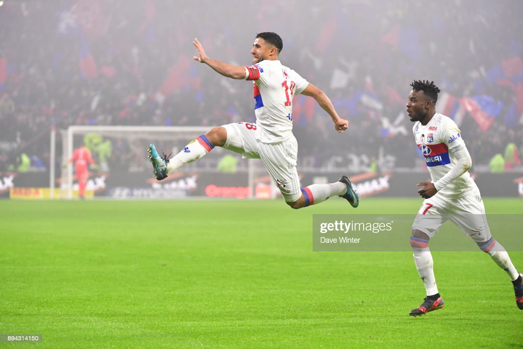 Nabil Fekir of Lyon celebrates putting his side 1-0 ahead during the Ligue 1 match between Olympique Lyonnais and Olympique Marseille at Parc Olympique on December 17, 2017 in Lyon, France.