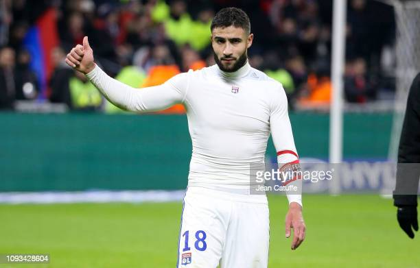 Nabil Fekir of Lyon celebrates the victory following the french Ligue 1 match between Olympique Lyonnais and Paris Saint-Germain at Groupama Stadium...