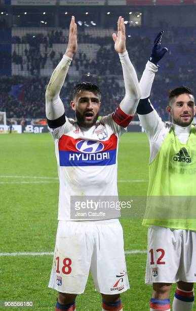 Nabil Fekir of Lyon celebrates the victory following the French Ligue 1 match between Olympique Lyonnais and Paris Saint Germain at Groupama Stadium...
