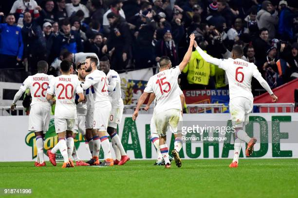 Nabil Fekir of Lyon celebrates with teammates after scoring a goal during the Europa League match between Lyon and Villarreal at Groupama Stadium on...