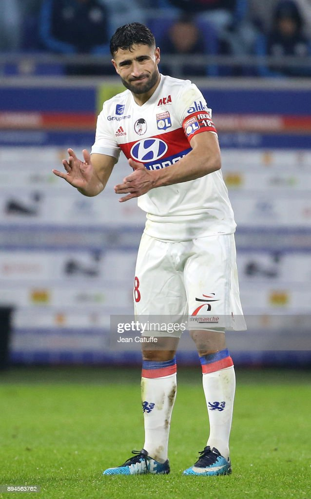 Nabil Fekir of Lyon during the French Ligue 1 match between Olympique Lyonnais (OL) and Olympique de Marseille (OM) at Groupama Stadium on December 17, 2017 in Lyon, France.