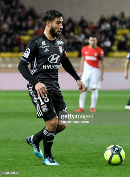 Nabil Fekir of Lyon during the Ligue 1 match between AS Monaco and Lyon at Stade Louis II on February 4 2018 in Monaco