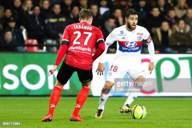 Nabil Fekir of Lyon during the Ligue 1 match between EA Guingamp and Olympique Lyonnais at Stade du Roudourou on January 17 2018 in Guingamp