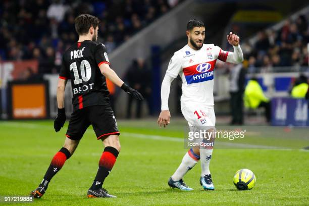 Nabil Fekir of Lyon during the Ligue 1 match between Olympique Lyonnais and Stade Rennes at Parc Olympique on February 11 2018 in Lyon