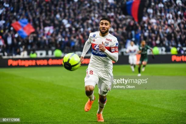 Nabil Fekir of Lyon during the Ligue 1 match between Olympique Lyonnais and AS SaintEtienne at Parc Olympique on February 25 2018 in Lyon