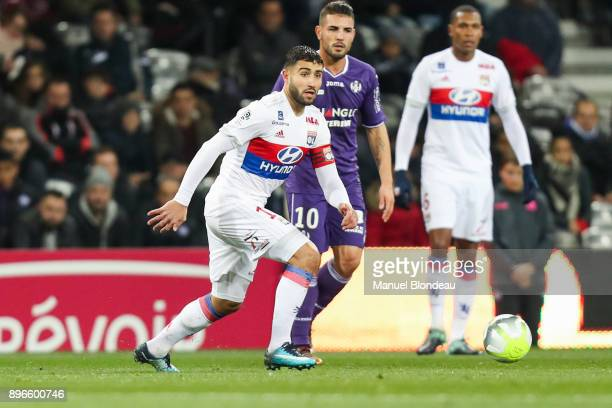 Nabil Fekir of Lyon during the Ligue 1 match between Toulouse and Olympique Lyonnais at Stadium Municipal on December 20 2017 in Toulouse
