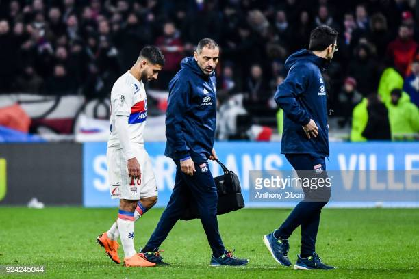 Nabil Fekir of Lyon goes out injured during the Ligue 1 match between Olympique Lyonnais and AS SaintEtienne at Parc Olympique on February 25 2018 in...