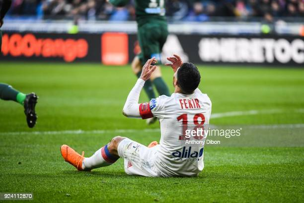 Nabil Fekir of Lyon looks dejected during the Ligue 1 match between Olympique Lyonnais and AS SaintEtienne at Parc Olympique on February 25 2018 in...