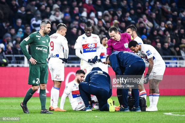 Nabil Fekir of Lyon looks injured during the Ligue 1 match between Olympique Lyonnais and AS SaintEtienne at Parc Olympique on February 25 2018 in...