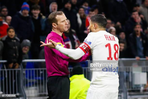 Nabil Fekir of Lyon protest the decision against the assistant referee during the Ligue 1 match between Olympique Lyonnais and Stade Rennes at Parc...