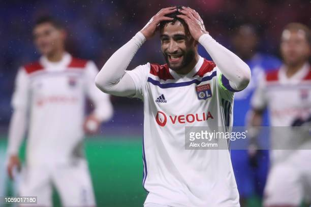 Nabil Fekir of Lyon reacts during the Group F match of the UEFA Champions League between Olympique Lyonnais and TSG 1899 Hoffenheim at Groupama...