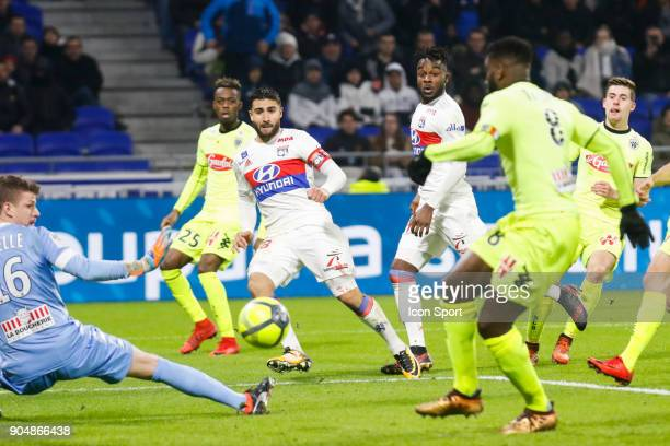 Nabil Fekir of Lyon score a goal during the Ligue 1 match between Lyon and Angers at Groupama Stadium on January 14 2018 in Lyon France
