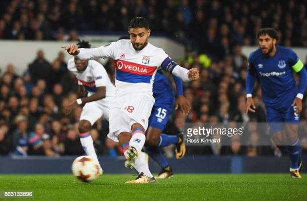 Nabil Fekir of Lyon scores their first goal from the penalty spot during the UEFA Europa League Group E match between Everton FC and Olympique Lyon...