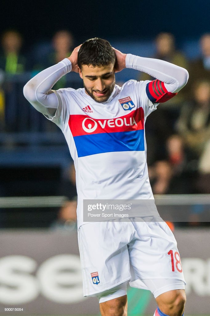 Nabil Fekir of Olympique Lyon reacts during the UEFA Europa League 2017-18 Round of 32 (2nd leg) match between Villarreal CF and Olympique Lyon at Estadio de la Ceramica on February 22 2018 in Villarreal, Spain.