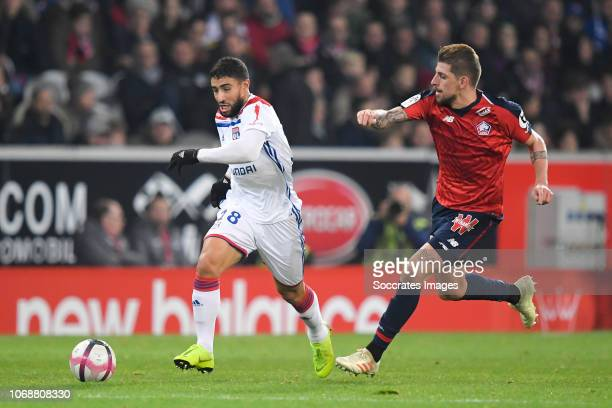Nabil Fekir of Olympique Lyon, Xeka of Lille during the French League 1 match between Lille v Olympique Lyon at the Stade Pierre Mauroy on December...