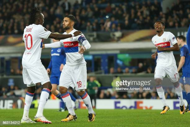 Nabil Fekir of Olympique Lyonnais celebrates after scoring a goal to make it 01during the UEFA Europa League group E match between Everton FC and...