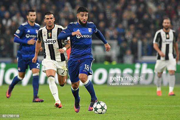 Nabil Fekir of Olympique Lyonnais in action against Stefano Sturaro of Juventus during the UEFA Champions League Group H match between Juventus and...