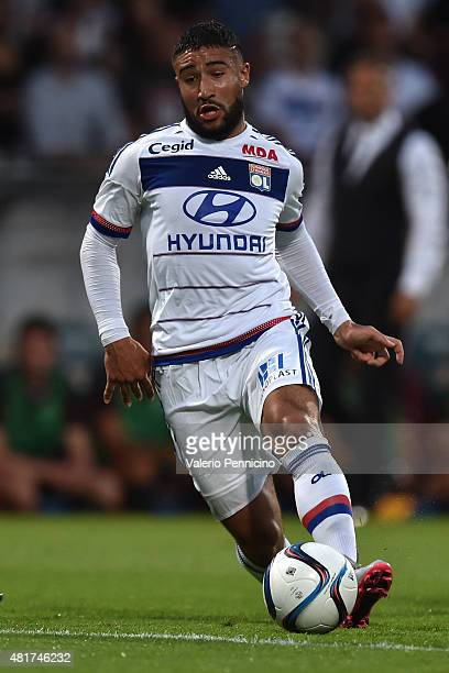 Nabil Fekir of Olympique Lyonnais in action during the preseason friendly match between Olympique Lyonnais and AC MIlan at Gerland Stadium on July 18...