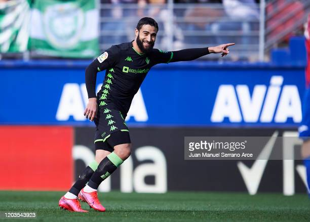 Nabil Fekir of Real Betis Balompie celebrates after scoring goal during the Liga match between SD Eibar SAD and Real Betis Balompie at Ipurua...
