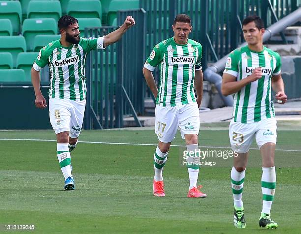 Nabil Fekir of Real Betis celebrates after scoring his team's first goal during the La Liga Santander match between Real Betis and Valencia CF at...