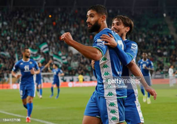 Nabil Fekir of Real Betis celebrates after scoring their sides first goal during the UEFA Europa League group G match between Ferencvarosi TC and...