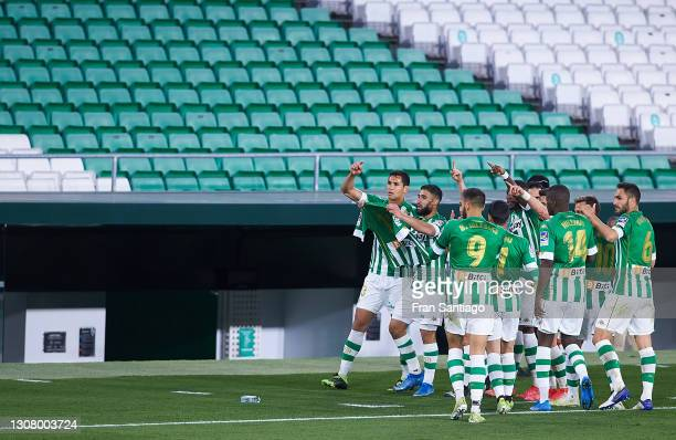 Nabil Fekir of Real Betis celebrates scoring a goal with team mates the La Liga Santander match between Real Betis and Levante UD at Estadio Benito...