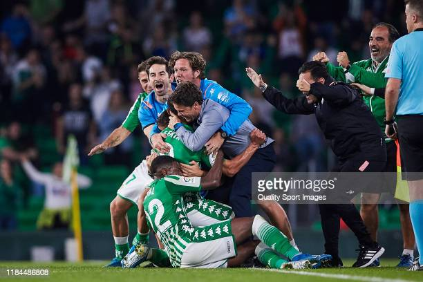 Nabil Fekir of Real Betis celebrates scoring his team's second goal with team mates during the Liga match between Real Betis Balompie and RC Celta de...