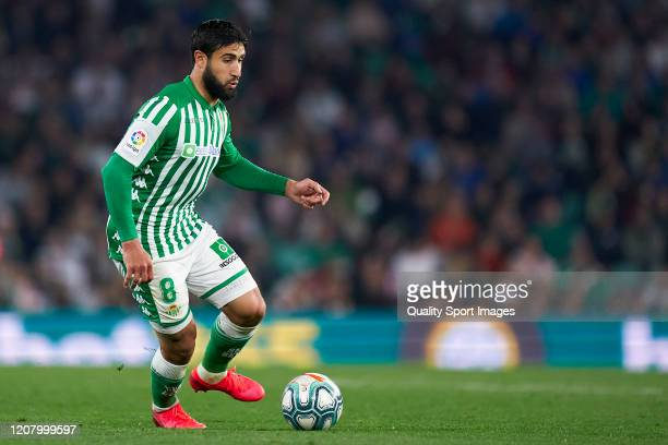 Nabil Fekir of Real Betis in action during the La Liga match between Real Betis Balompie and RCD Mallorca at Estadio Benito Villamarin on February 21...