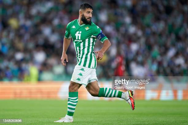 Nabil Fekir of Real Betis looks on during the UEFA Europa League group G match between Real Betis and Bayer Leverkusen at Estadio Benito Villamarin...