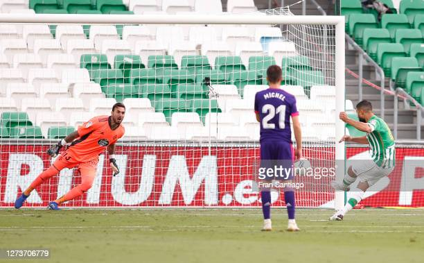 Nabil Fekir of Real Betis scores his team's first goal during the La Liga Santander match between Real Betis and Real Valladolid CF at Estadio Benito...
