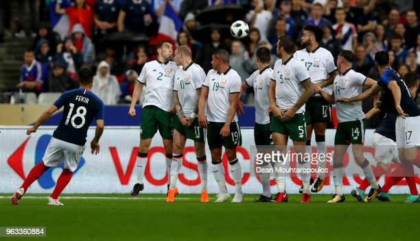 Nabil Fekir shoots a free kick at goal of France and of Ireland during the International Friendly match between France and Ireland at Stade de France...