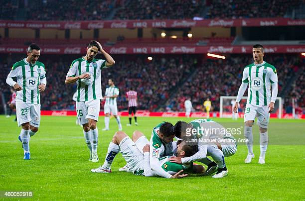 Nabil Ghilas of Cordoba CF celebrates after scoring during the La Liga match between Athletic Club and Cordoba CF at San Mames Stadium on December 6...