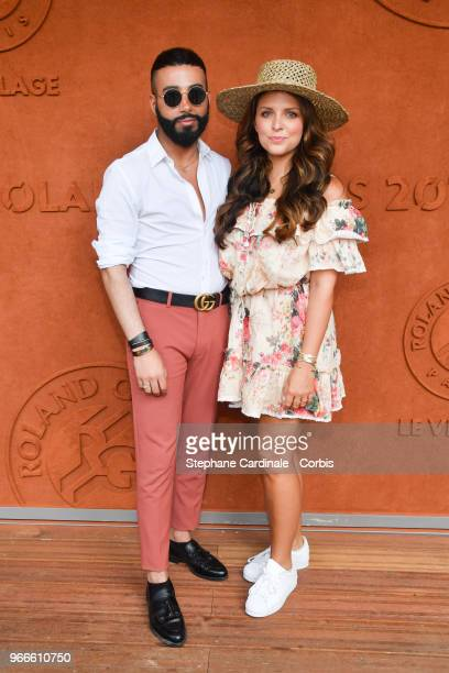 Nabil Haci and Blogger Ludivine from 'Le blog de ludivine' attend the 2018 French Open Day Eight at Roland Garros on June 3 2018 in Paris France