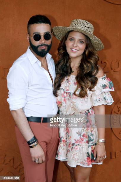Nabil Haci and Blogger Ludivine of 'Le Blog de Ludivine' attend the 2018 French Open Day Eight at Roland Garros on June 3 2018 in Paris France