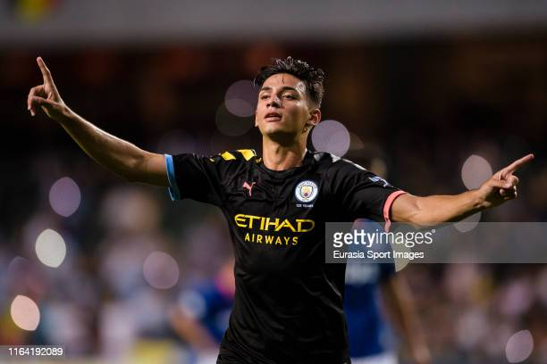 Nabil Touaizi of Manchester City celebrates his goal during the preseason friendly match between Kitchee and Manchester City at the Hong Kong Stadium...