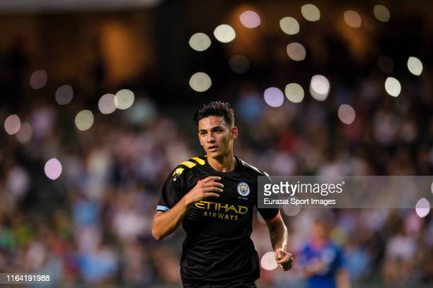 Nabil Touaizi of Manchester City celebrates his goal in the name of the son during the preseason friendly match between Kitchee and Manchester City...