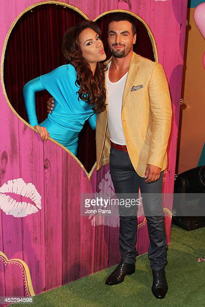 Nabila Tapia and Gabriel Valenzuela attend the Premios Juventud 2014 at The BankUnited Center on July 17 2014 in Coral Gables Florida