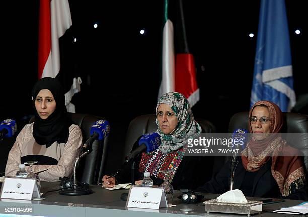 Nabilah Mohsen Ali AlZubair Antelak Mohammed AlMutawakel and Afrah Abdulaziz Saleh AlZouba attend a press conference at Kuwait's information ministry...