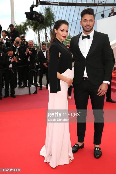 Nabilla Benattia and her husband Thomas Vergara attend the screening of A Hidden Life during the 72nd annual Cannes Film Festival on May 19 2019 in...