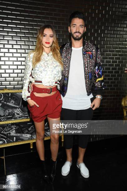 Nabilla Benattia and Thomas Vergara attend the JeanPaul Gaultier Haute Couture Fall Winter 2018/2019 show as part of Paris Fashion Week on July 4...