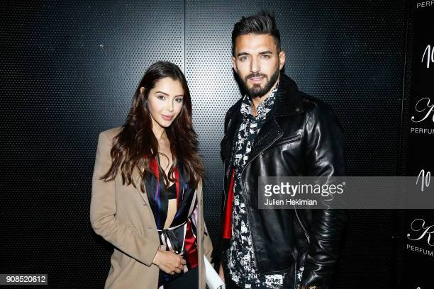 Nabilla Benattia and Thomas Vergara attend the Kilian Party as part of Paris Fashion Week on January 21 2018 in Paris France
